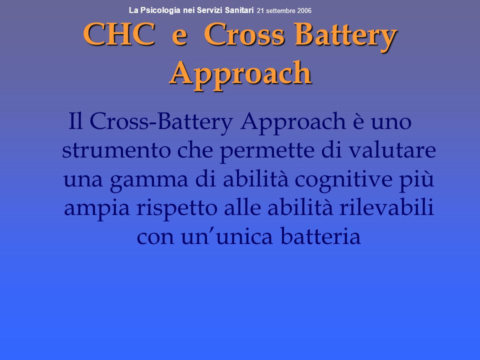 CHC e Cross Battery Approach