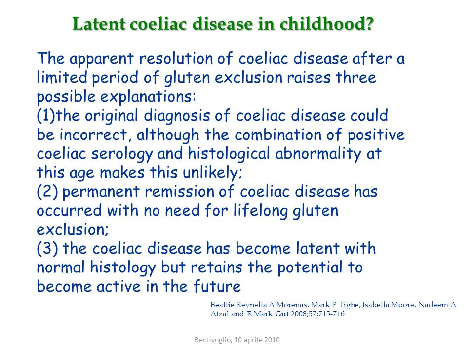 Latent coeliac disease in childhood