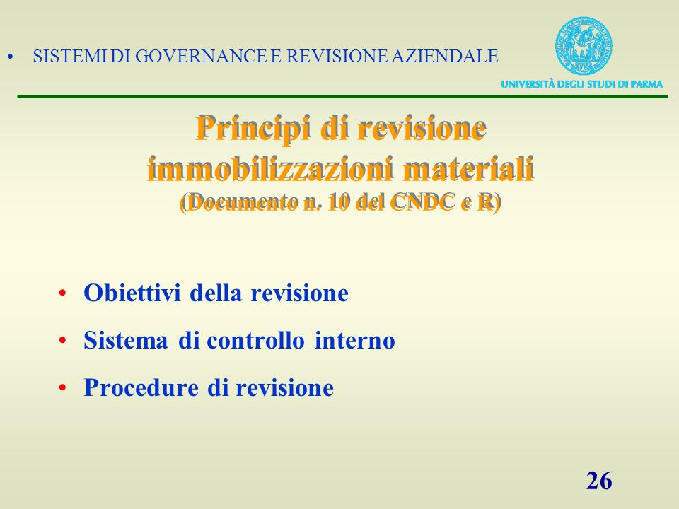 Principi di revisione immobilizzazioni materiali (Documento n