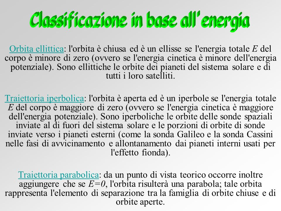 Classificazione in base all energia