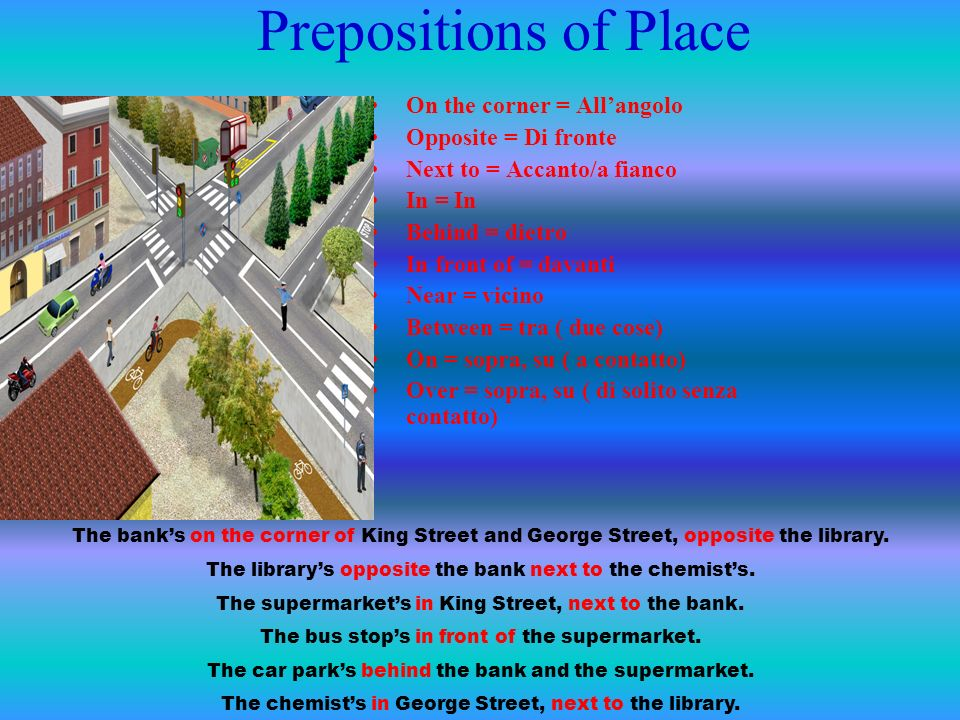 Prepositions of Place On the corner = All'angolo Opposite = Di fronte