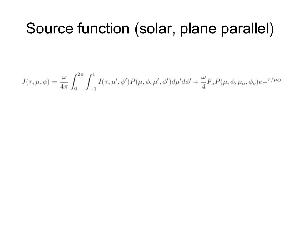 Source function (solar, plane parallel)