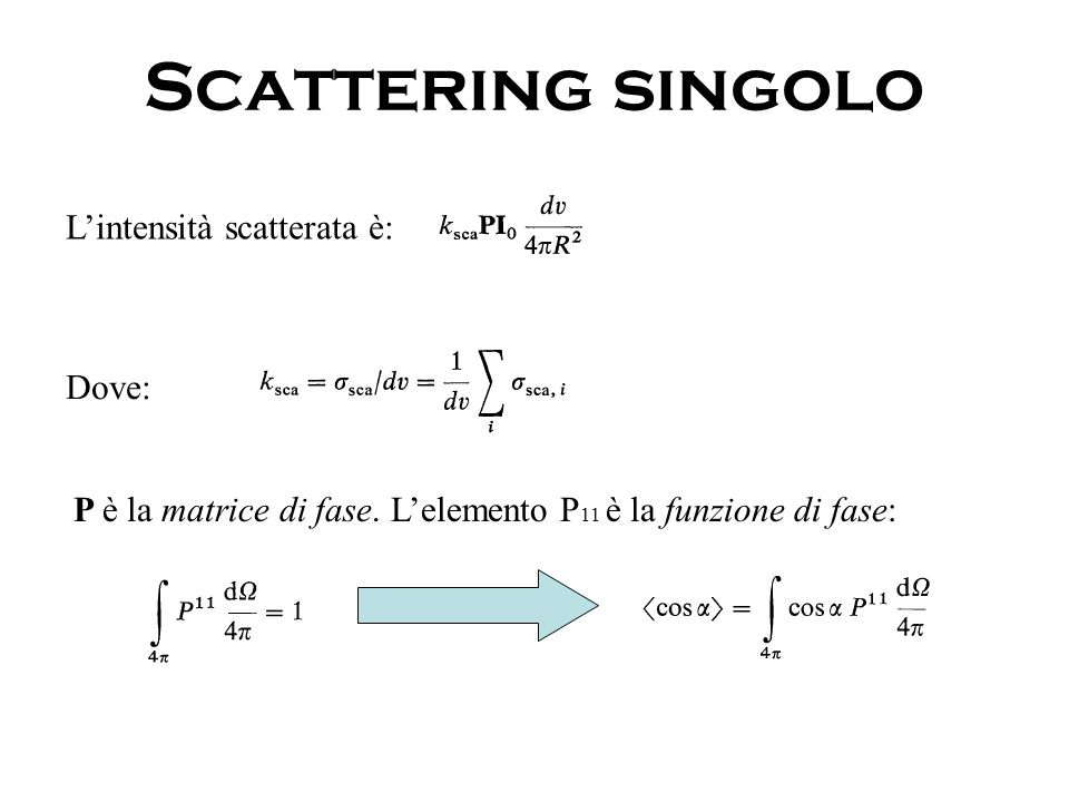 Scattering singolo L'intensità scatterata è: Dove: