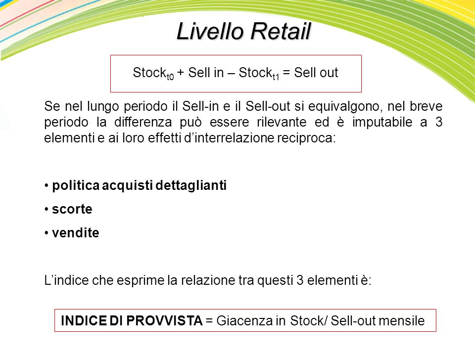Livello Retail Stockt0 + Sell in – Stockt1 = Sell out