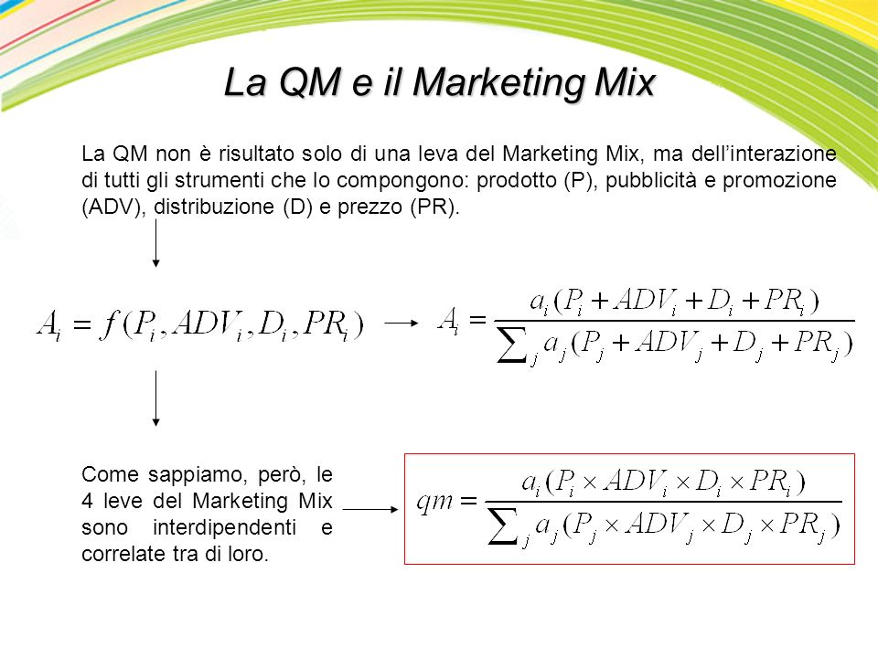 La QM e il Marketing Mix