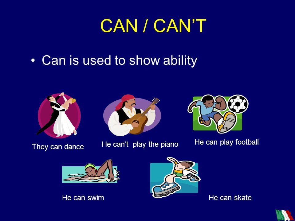 CAN / CAN'T Can is used to show ability He can play football