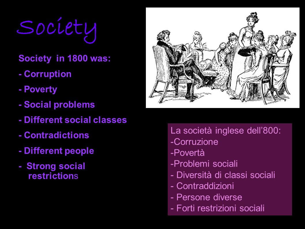 Society Society in 1800 was: - Corruption - Poverty - Social problems
