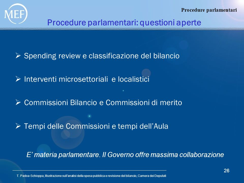 Procedure parlamentari: questioni aperte