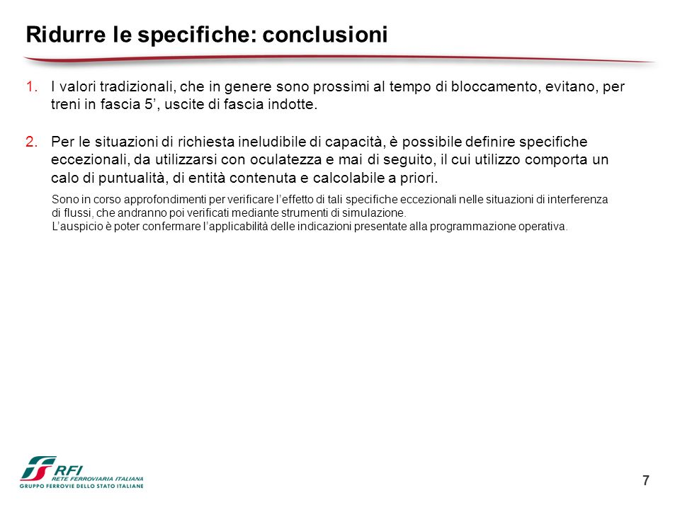 Ridurre le specifiche: conclusioni