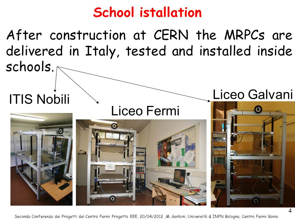 School istallation After construction at CERN the MRPCs are delivered in Italy, tested and installed inside schools.