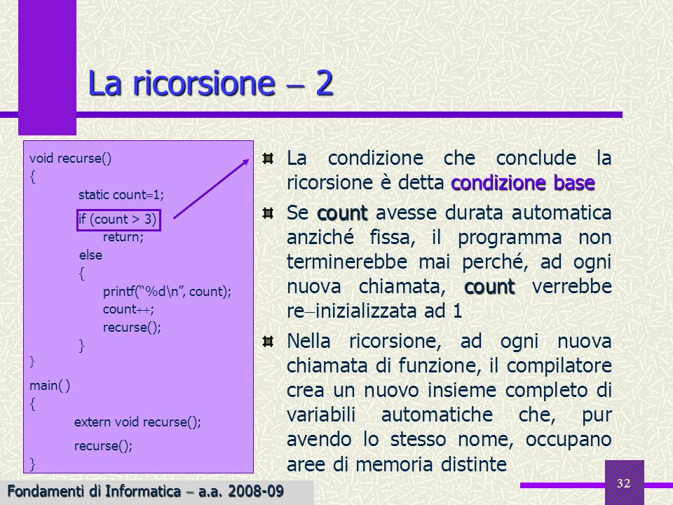 La ricorsione  2 void recurse() { static count1; if (count > 3) return; else. printf( %d\n , count);