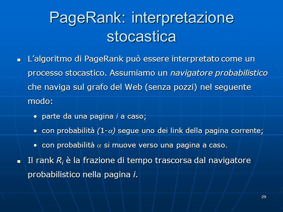 PageRank: interpretazione stocastica