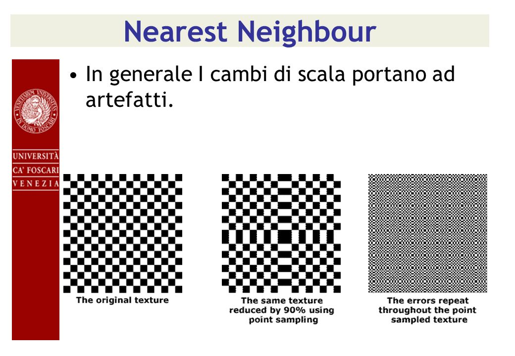 Nearest Neighbour In generale I cambi di scala portano ad artefatti.