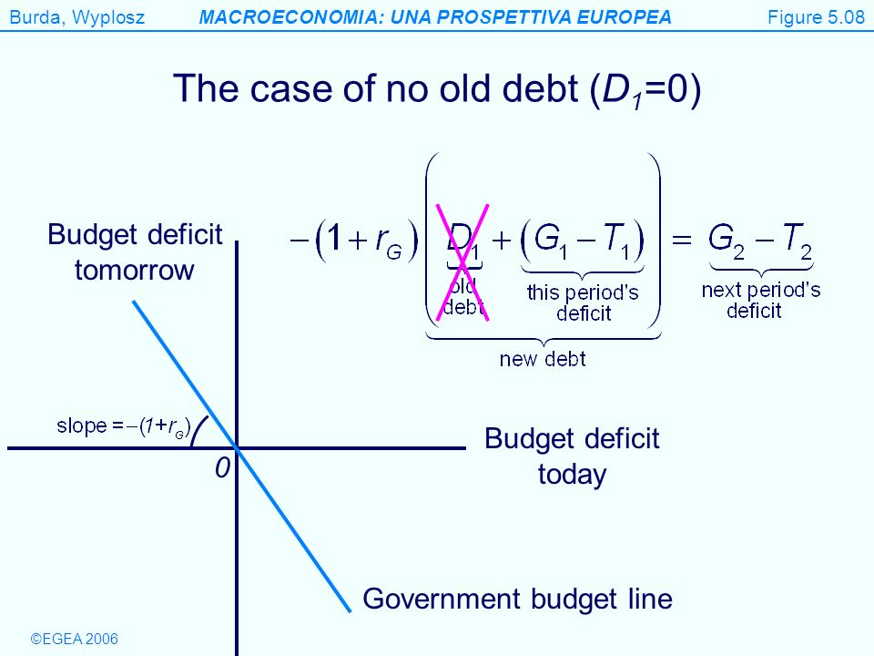 Figure 5.8 The case of no old debt (D1=0) Budget deficit tomorrow