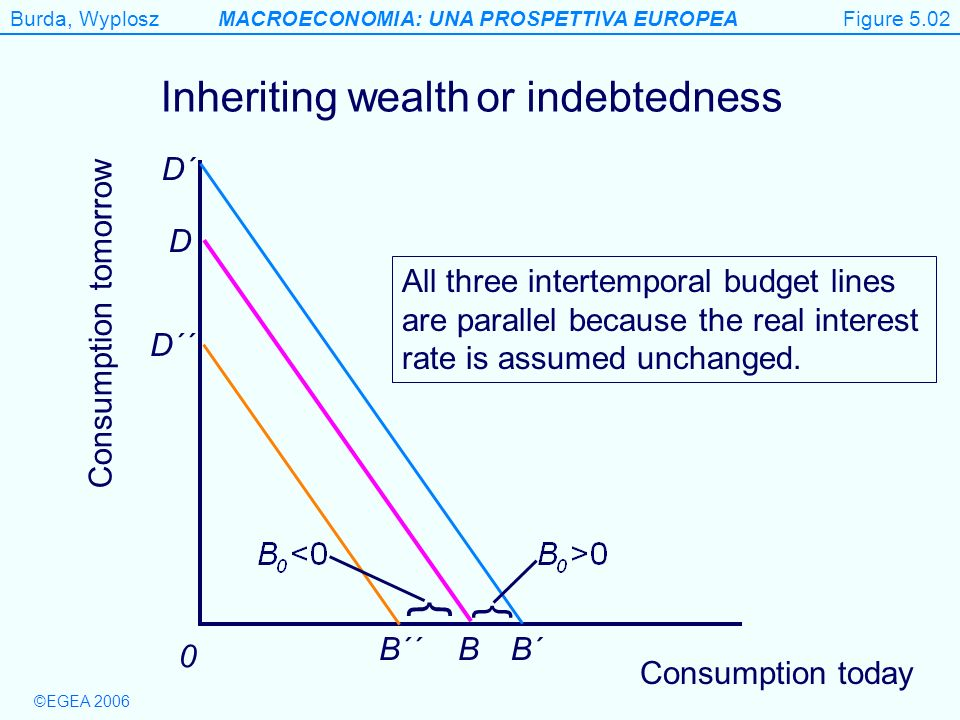 Figure 5.2 } Inheriting wealth or indebtedness } D´ D B