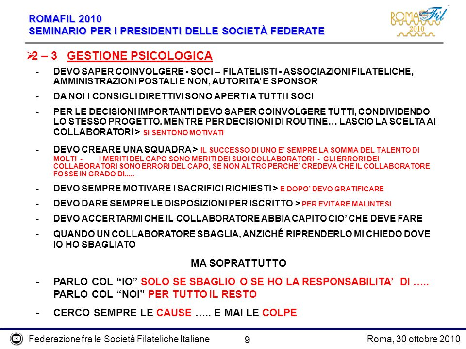 2 – 3 GESTIONE PSICOLOGICA