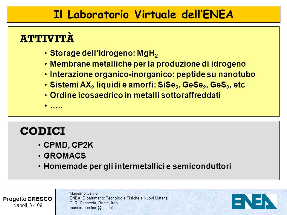 Il Laboratorio Virtuale dell'ENEA