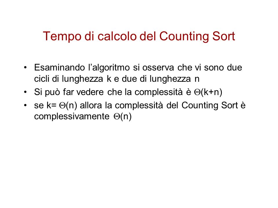 Tempo di calcolo del Counting Sort