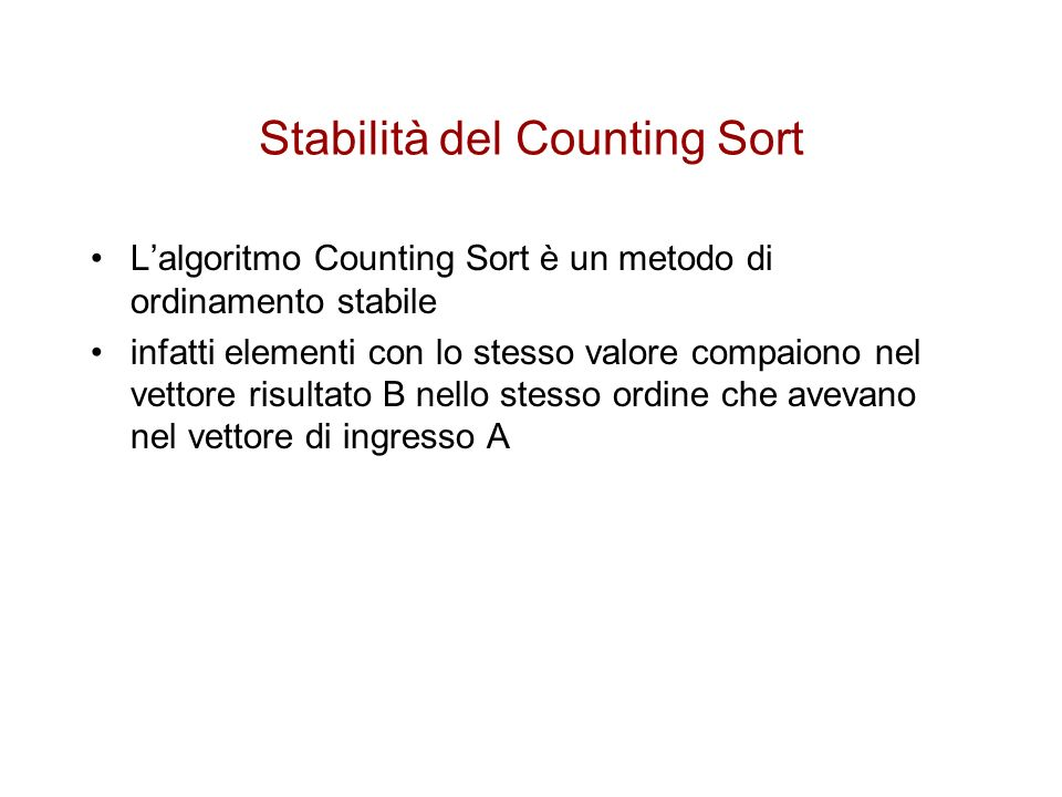Stabilità del Counting Sort