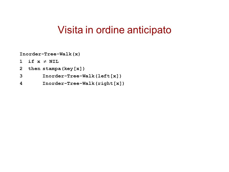 Visita in ordine anticipato