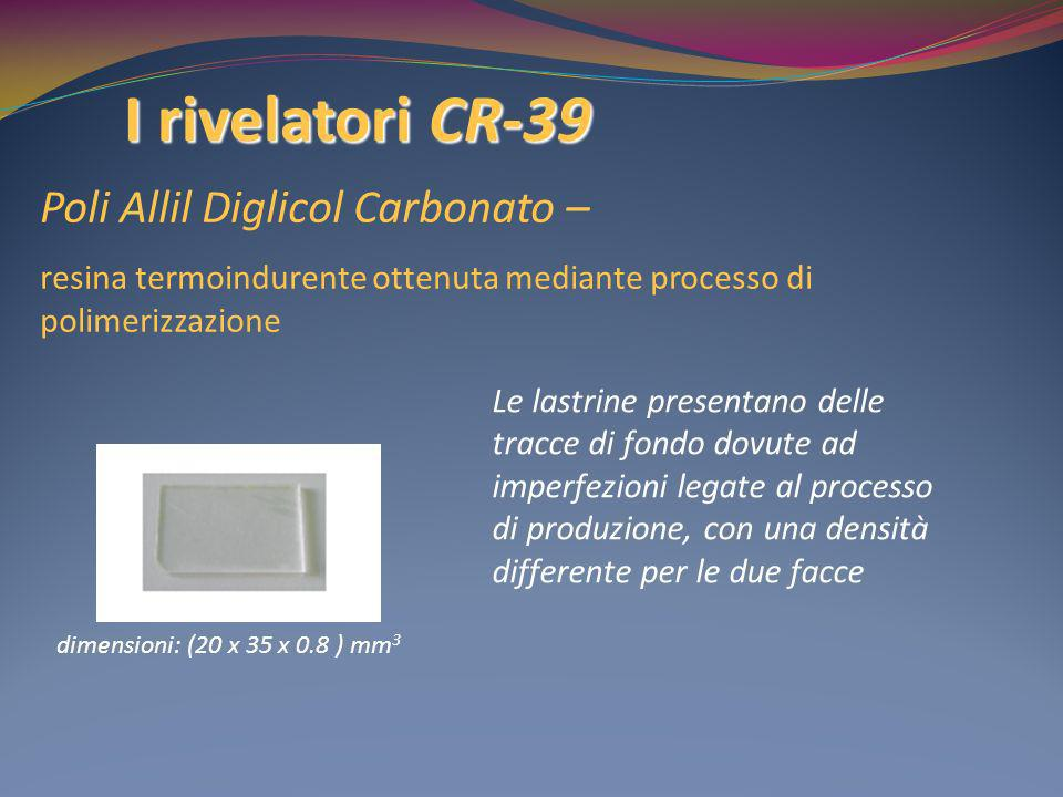 I rivelatori CR-39 Poli Allil Diglicol Carbonato –