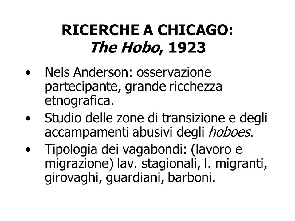 RICERCHE A CHICAGO: The Hobo, 1923