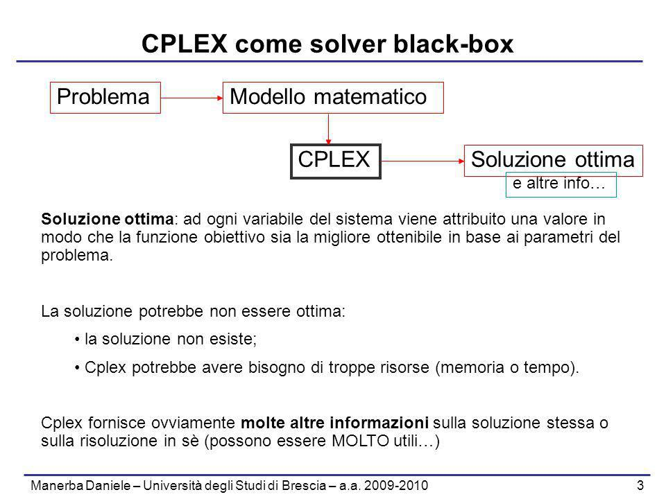 CPLEX come solver black-box