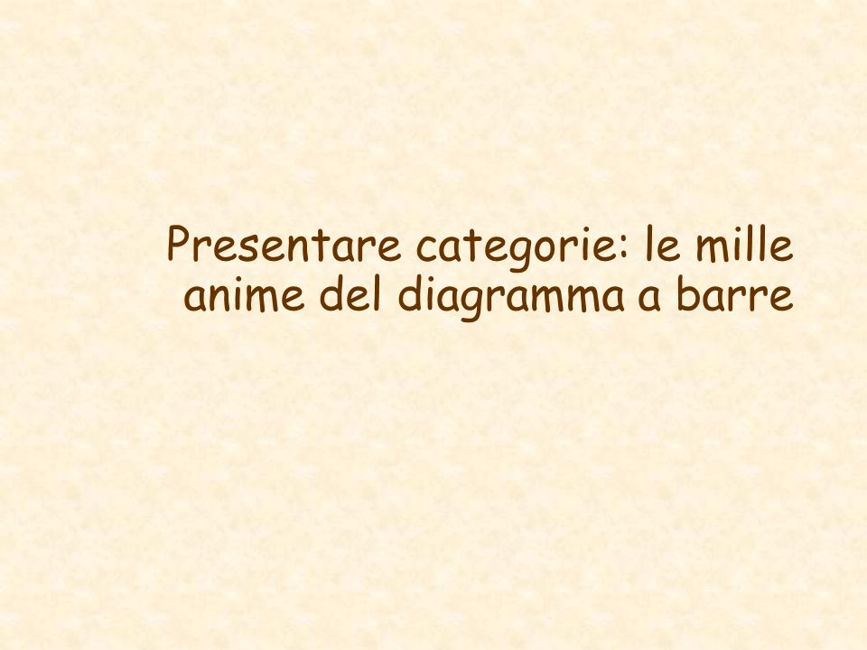 Presentare categorie: le mille anime del diagramma a barre