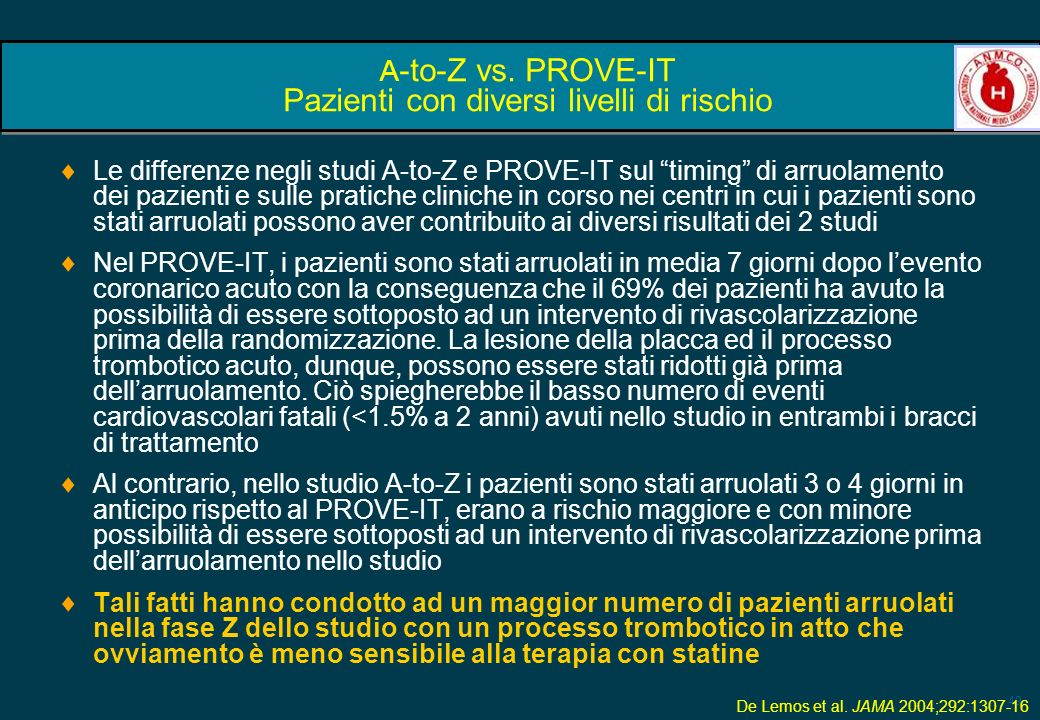 A-to-Z vs. PROVE-IT Pazienti con diversi livelli di rischio