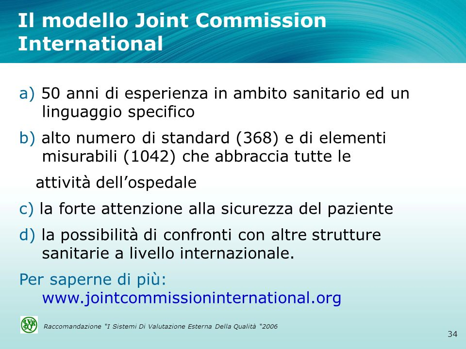 Il modello Joint Commission International
