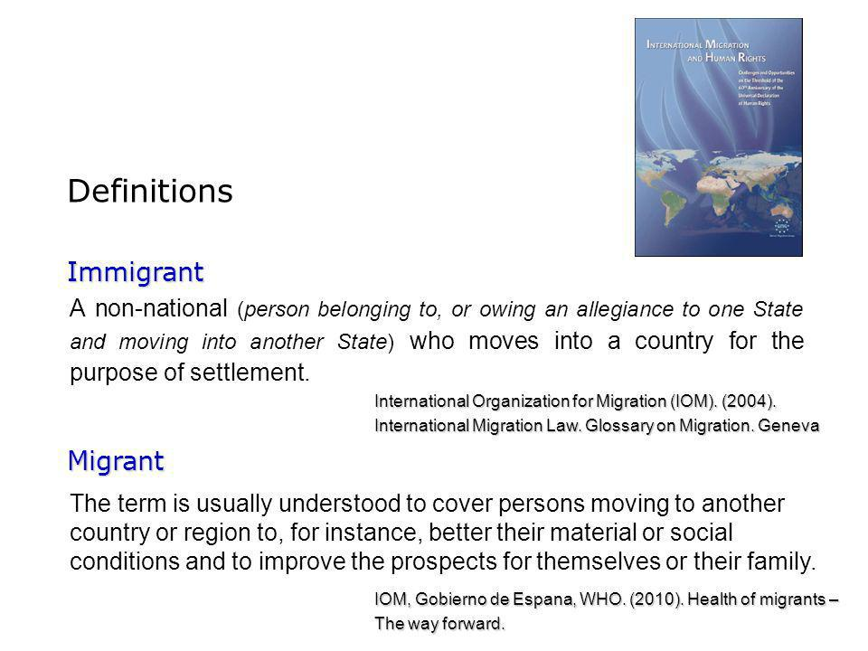 Definitions Immigrant Migrant