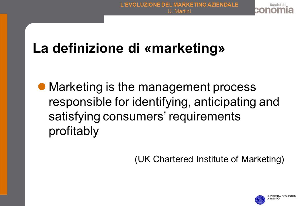 La definizione di «marketing»
