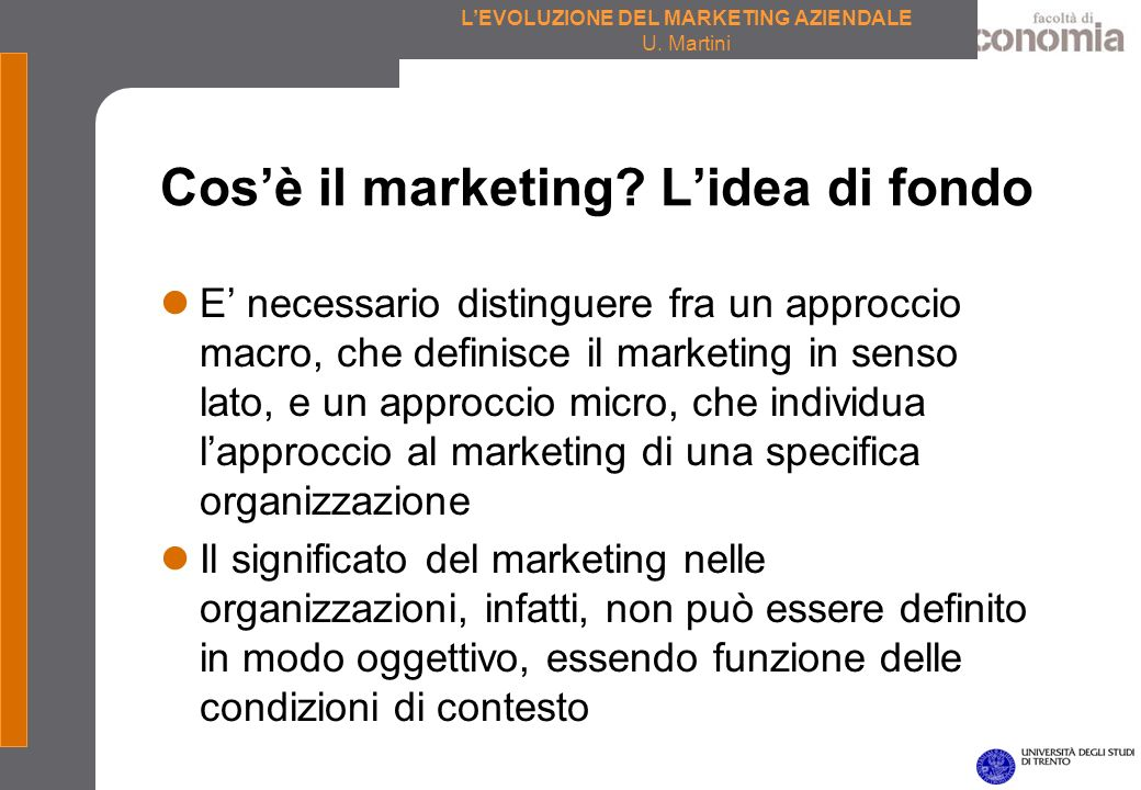 Cos'è il marketing L'idea di fondo