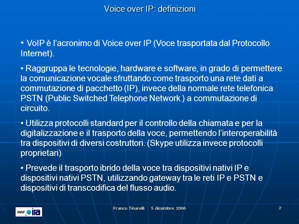 Voice over IP: definizioni