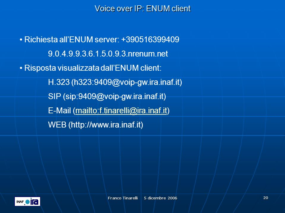 Voice over IP: ENUM client