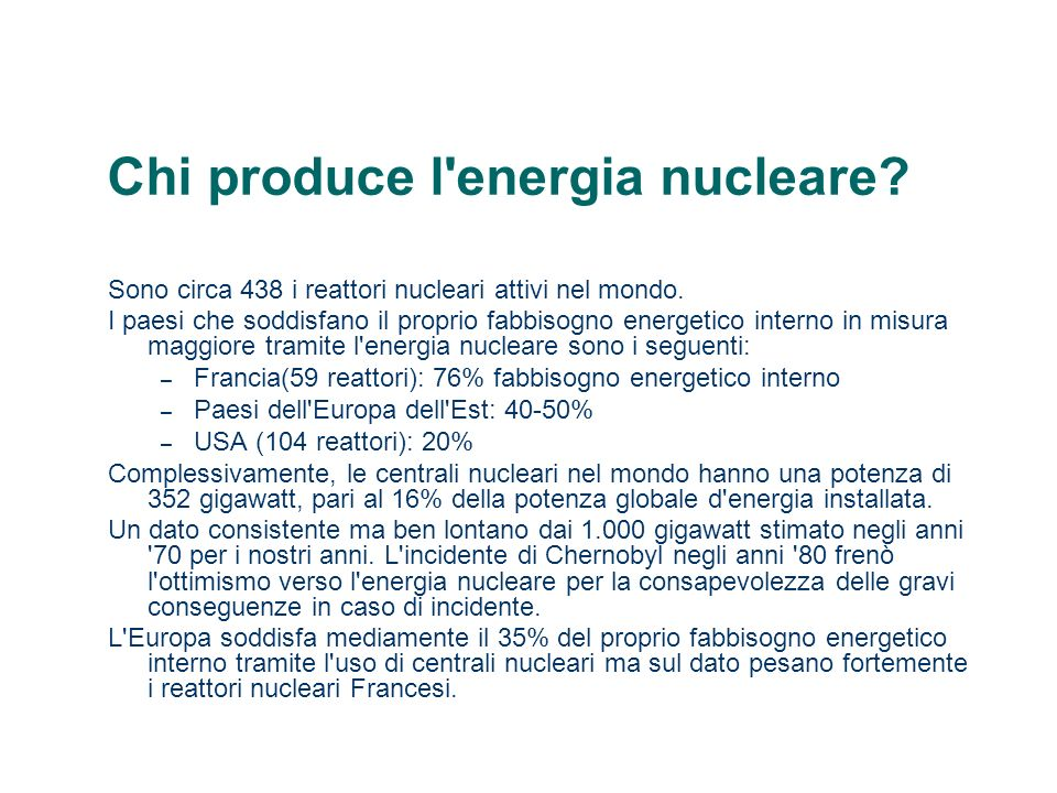 Chi produce l energia nucleare