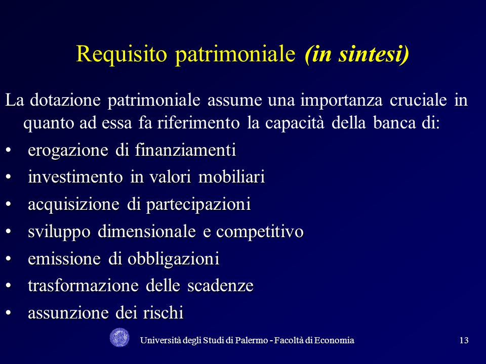Requisito patrimoniale (in sintesi)