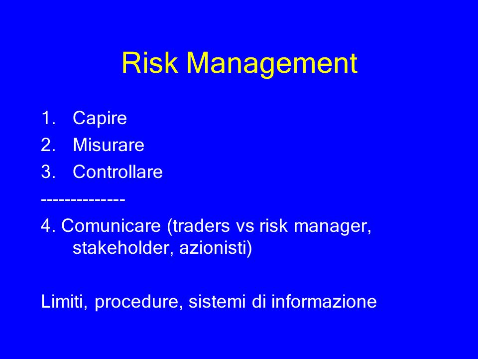 Risk Management Capire Misurare Controllare