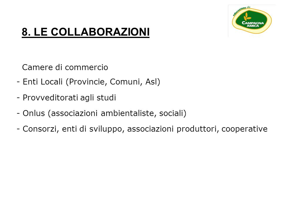 8. LE COLLABORAZIONI Camere di commercio