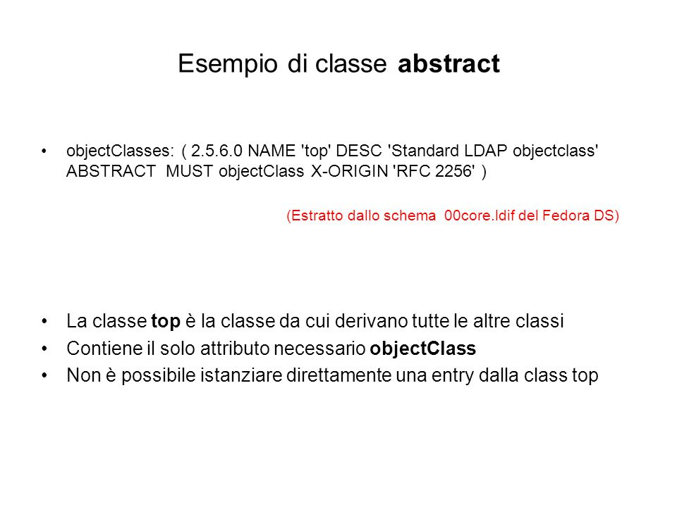 Esempio di classe abstract