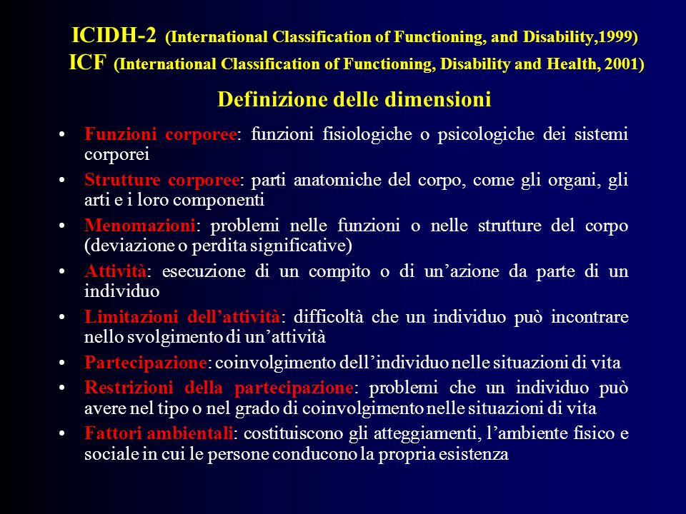 ICIDH-2 (International Classification of Functioning, and Disability,1999) ICF (International Classification of Functioning, Disability and Health, 2001) Definizione delle dimensioni