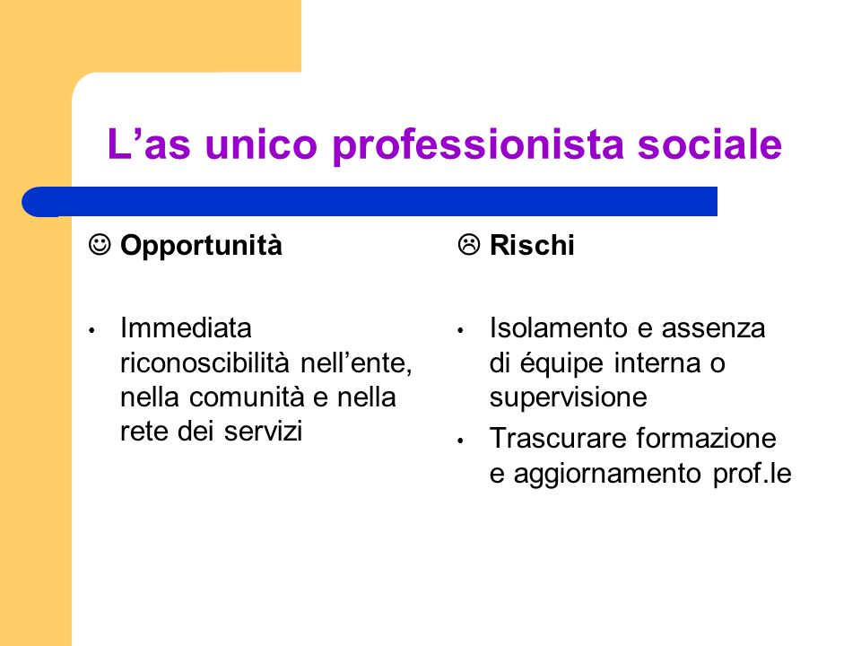 L'as unico professionista sociale