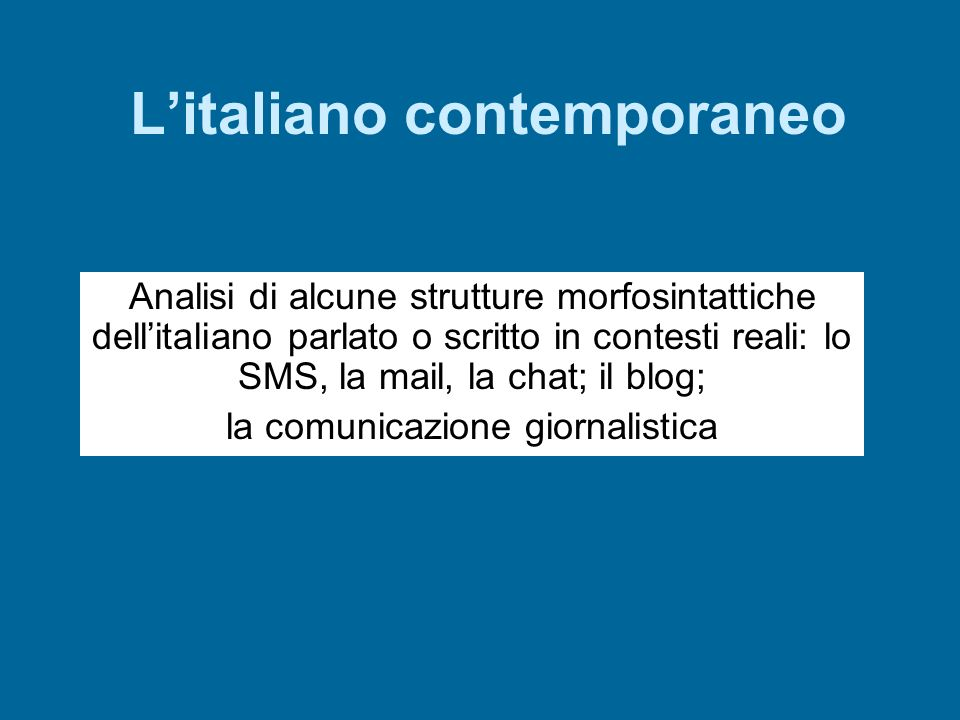 L'italiano contemporaneo