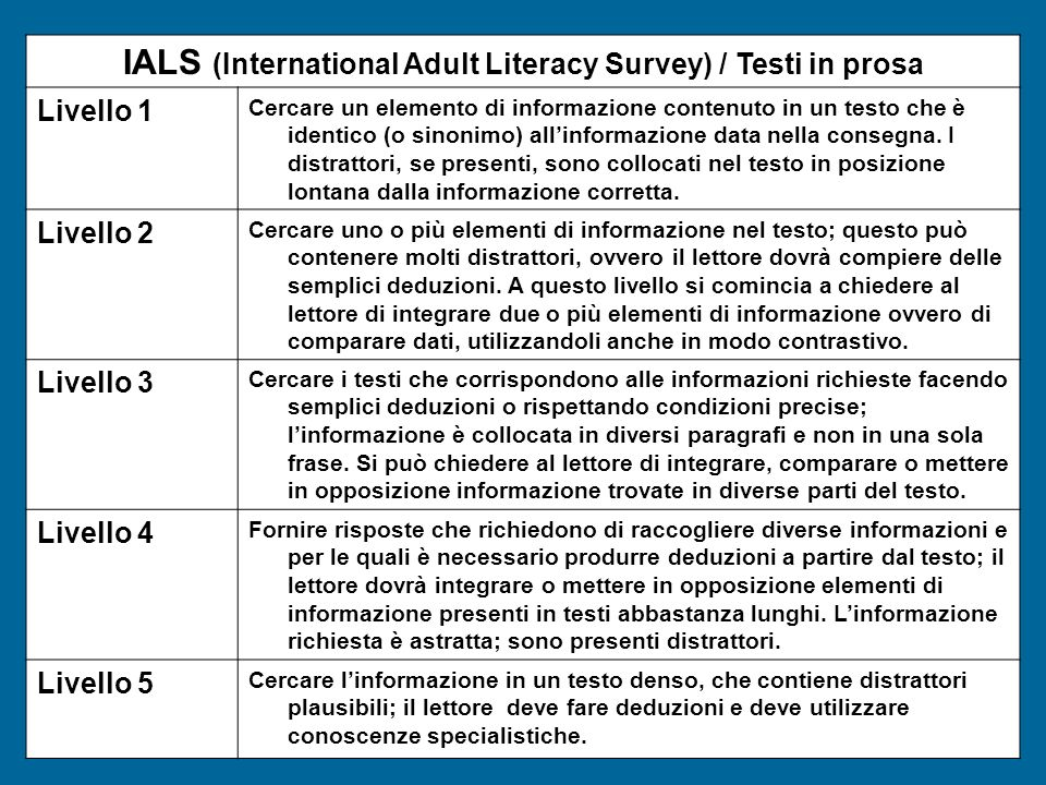 IALS (International Adult Literacy Survey) / Testi in prosa