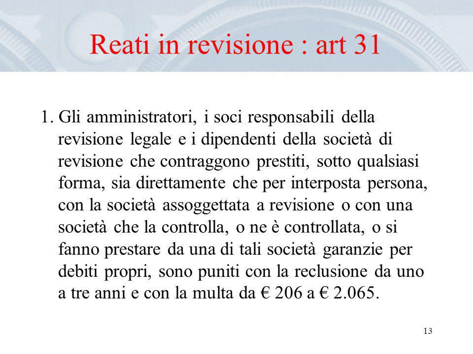 Reati in revisione : art 31