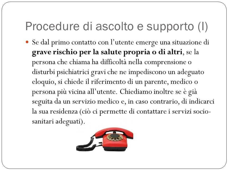 Procedure di ascolto e supporto (I)
