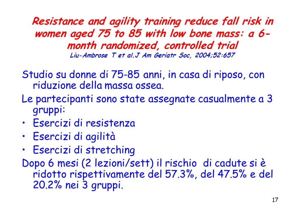 Resistance and agility training reduce fall risk in women aged 75 to 85 with low bone mass: a 6-month randomized, controlled trial Liu-Ambrose T et al.J Am Geriatr Soc, 2004;52:657