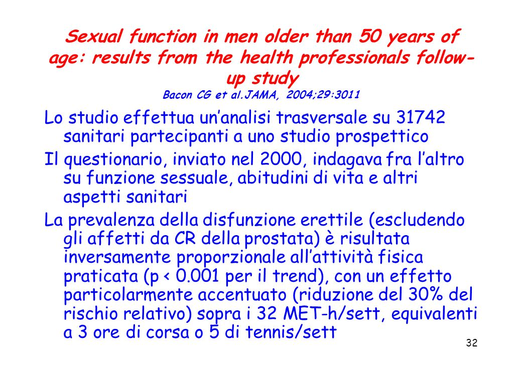 Sexual function in men older than 50 years of age: results from the health professionals follow-up study Bacon CG et al.JAMA, 2004;29:3011