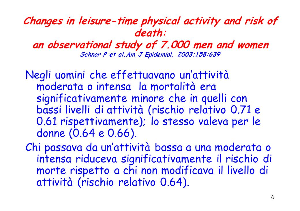 Changes in leisure-time physical activity and risk of death: an observational study of men and women Schnor P et al.Am J Epidemiol, 2003;158:639