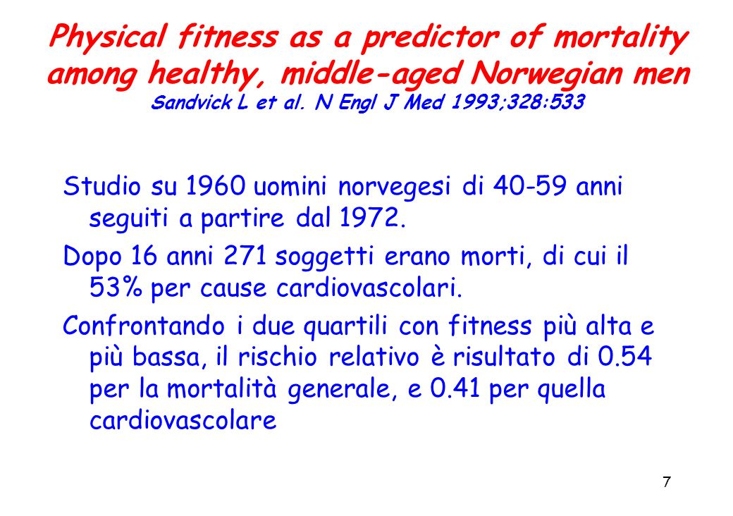 Physical fitness as a predictor of mortality among healthy, middle-aged Norwegian men Sandvick L et al. N Engl J Med 1993;328:533